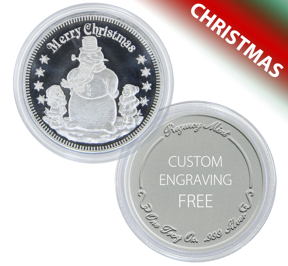 Christmas Snowman Coin Gift Of 1 Troy Oz 999 Fine Silver