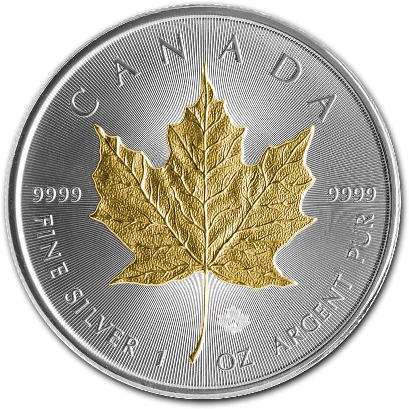 1 Oz Select Gold Plated Canadian Silver Maple Leaf Coins