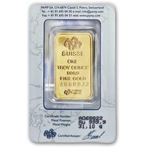 Carded PAMP Suisse Gold Bar 1 oz reverse