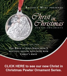 Christ in Christmas Pewter Ornaments