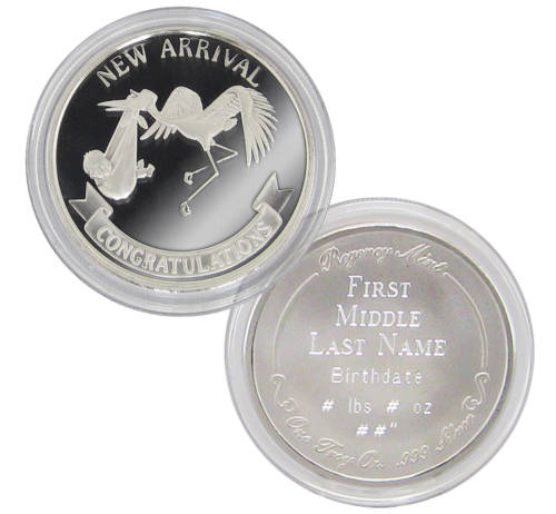 Personalized Silver Coin for New Baby