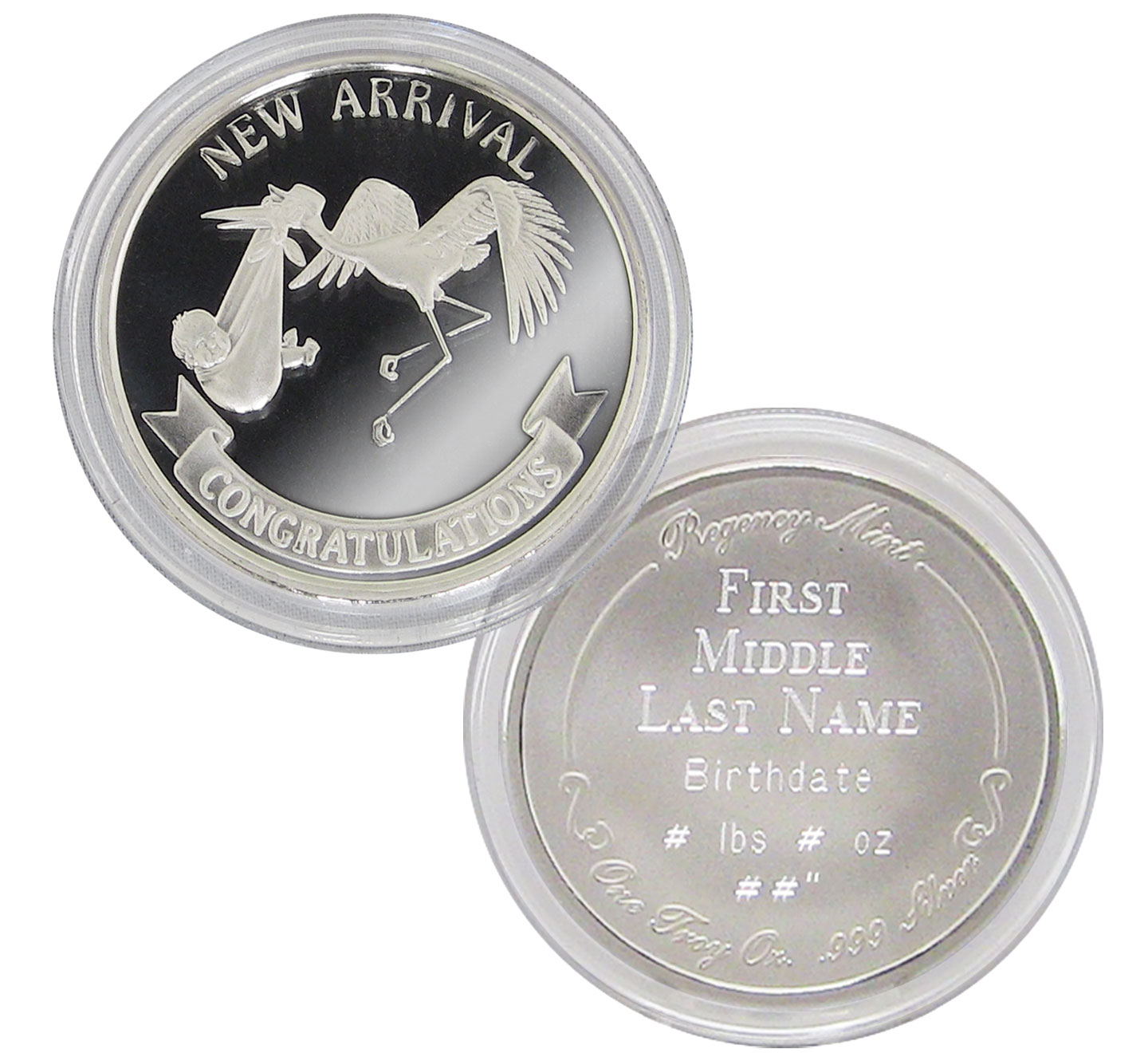 Personalized Silver Coin for New Baby -  999 Silver Baby Coin