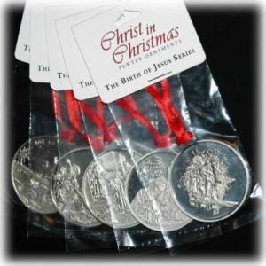 Christ in Christmas Pewter Ornaments - 5 piece set with Box