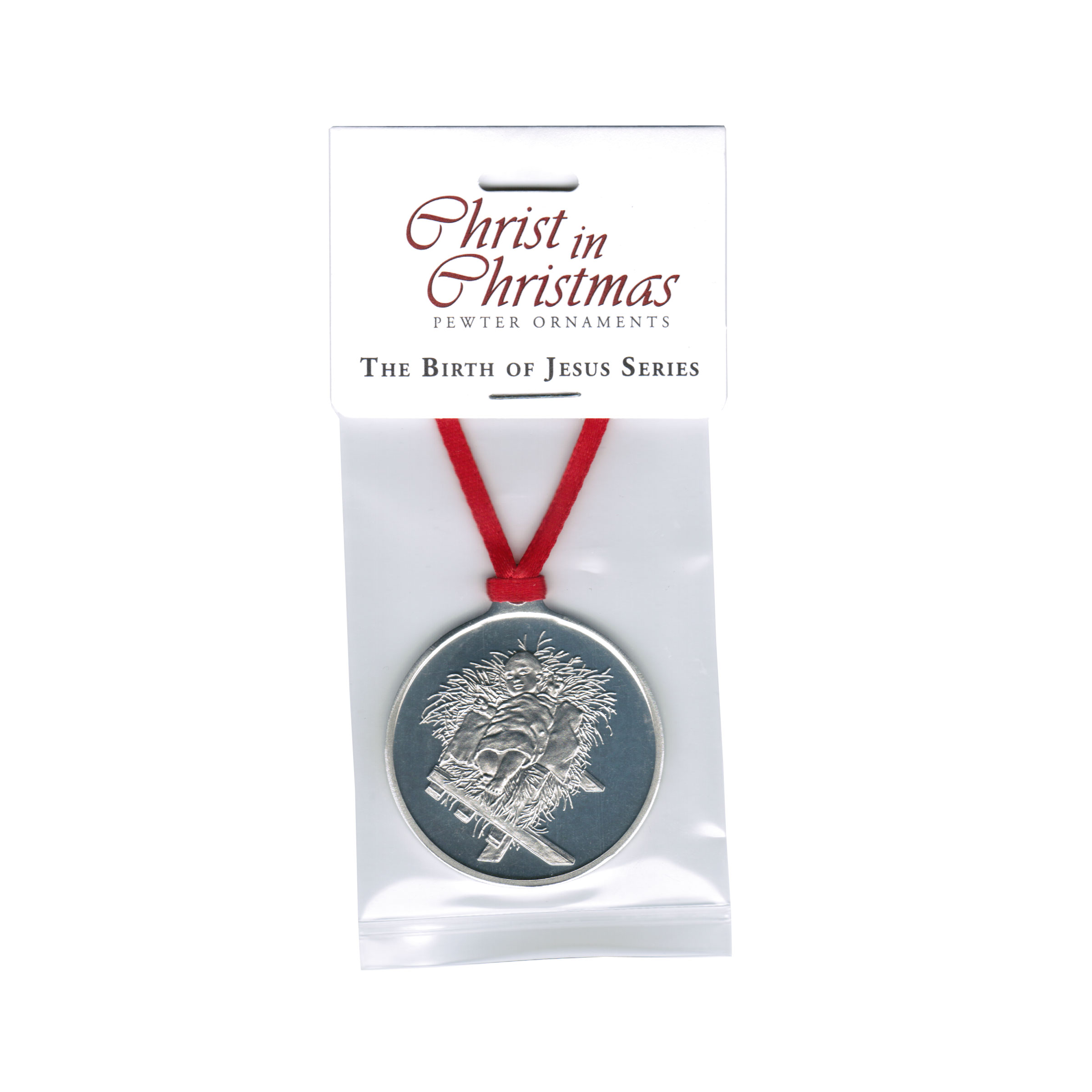 Christ in the Manger - Pewter Ornament