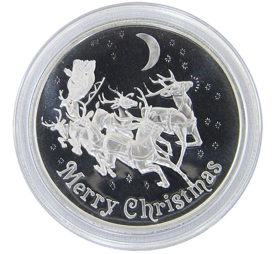Merry Christmas Reindeer And Sleigh 1 Troy Oz 999 Fine