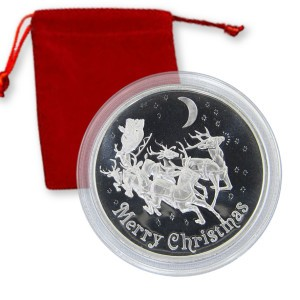 Merry Christmas Reindeer and Sleigh - 1-troy oz .999 fine silver round