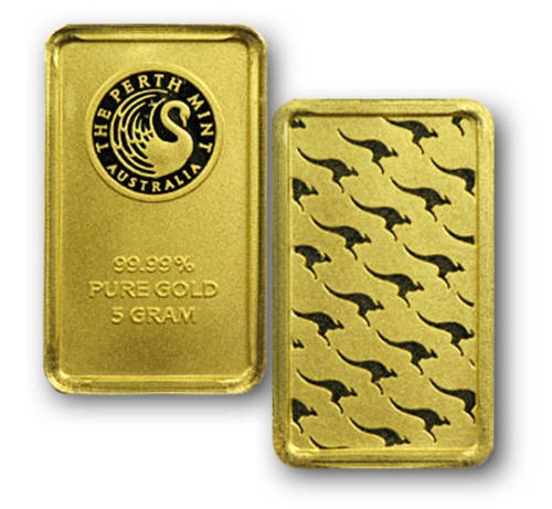 5 Gram Gold Perth Mint Bars .9999 fine Gold - 25 Bars
