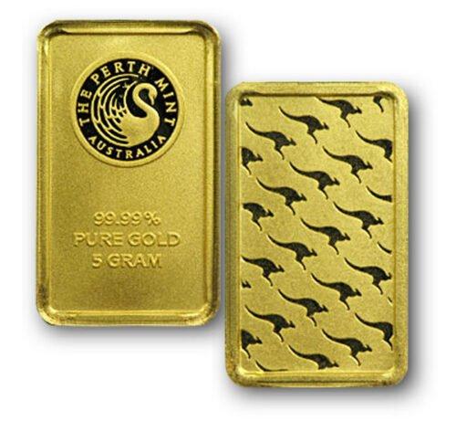 5 Gram Gold Perth Mint Bars .9999 fine Gold - 25 Bars