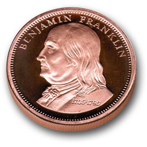 1 AVDP oz COPPER Bullion round - Benjamin Franklin & Don't Tread on Me