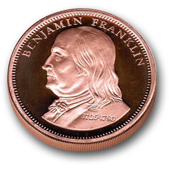 1 Avdp Oz Copper Bullion Round Benjamin Franklin Amp Don T