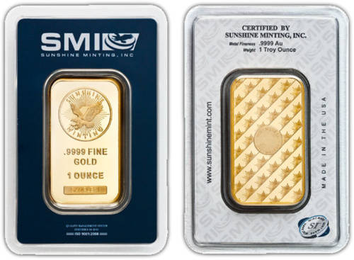 1-oz Gold Sunshine Mint Security Bars - .9999 fine Gold