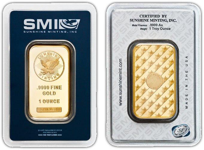 1-oz Gold Sunshine Mint Security Bars - .9999 fine Gold
