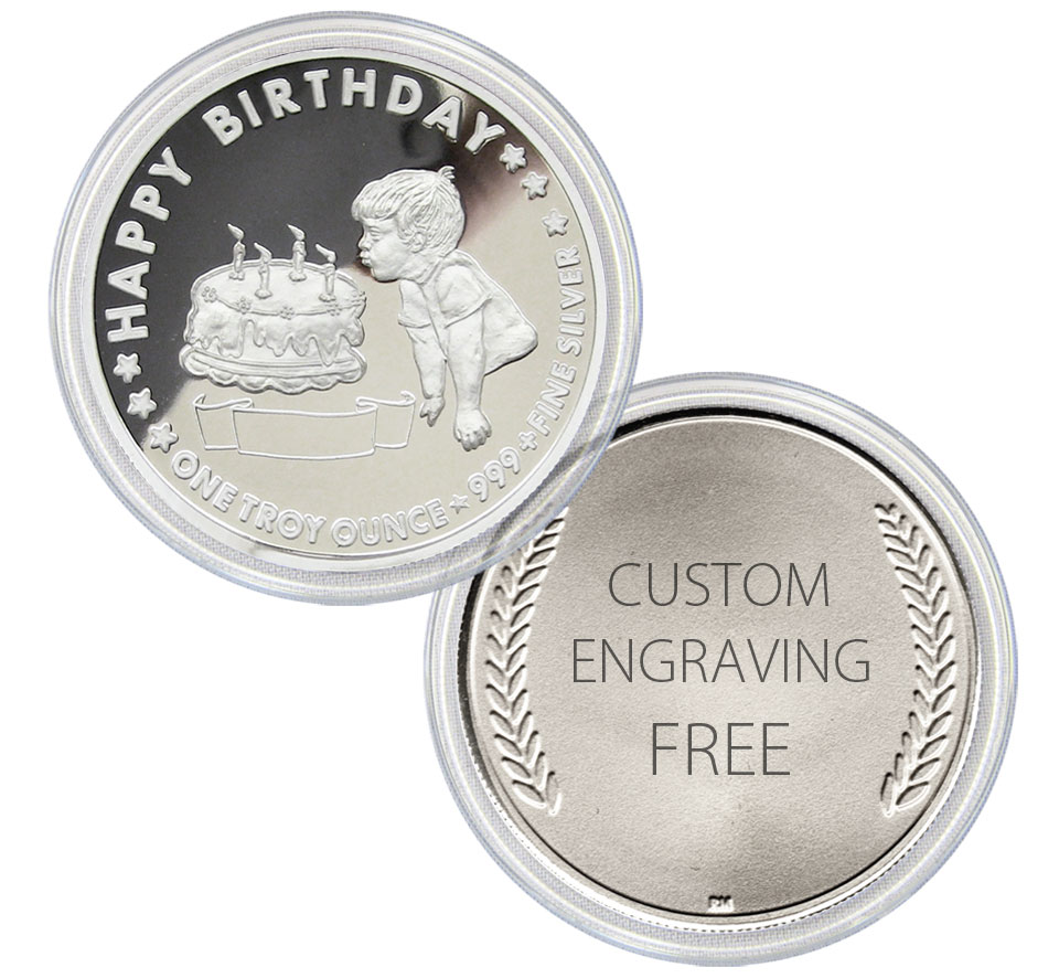 Birthday BOY Personalized Gift Coins - 1-troy oz .999 fine silver