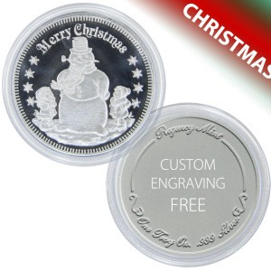 Christmas Snowman Coin Gift of 1-troy oz .999 fine silver - FREE ENGRAVING