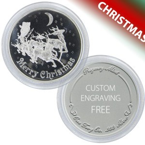 Christmas Reindeer Coin Gift of 1-troy oz .999 fine silver - FREE ENGRAVING