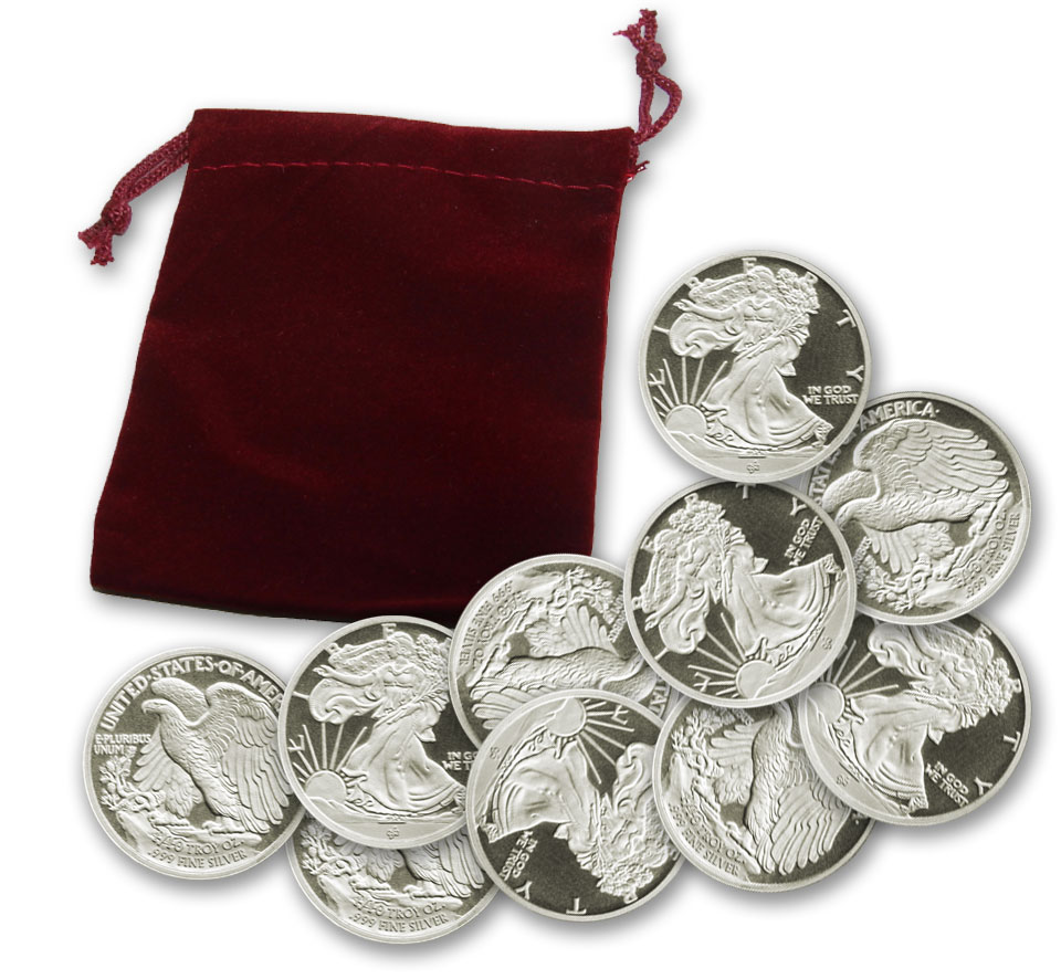Gift Bag of 10 x 1/10-troy oz. (TENTH) Walking Liberty .999 fine Silver Bullion rounds