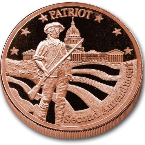 Patriot Second Amendment Medallion - 1 AVDP oz COPPER Bullion round