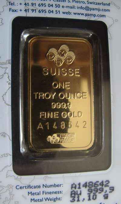 1 Oz 9999 Fine Gold Pamp Suisse Bar Serial Varies