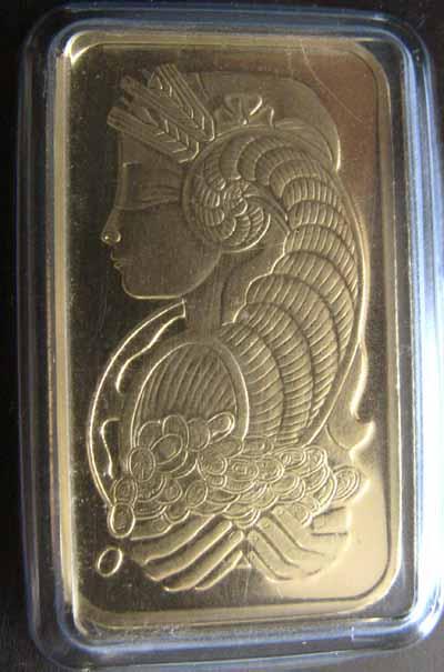1-oz .9999 fine Gold PAMP Suisse Bar (Serial # varies)