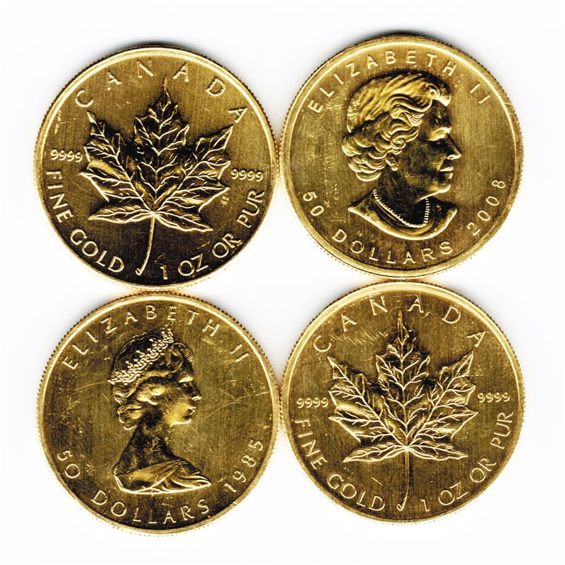 Impaired 1 Oz Gold Canadian Maple Leaf 9999 Fine Gold