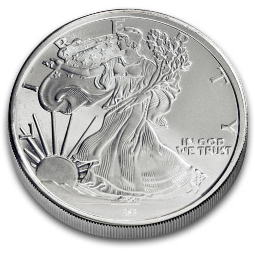 Obvers of the walking liberty silver round