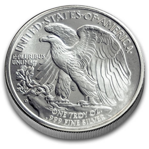 Reverse of the walking liberty silver round