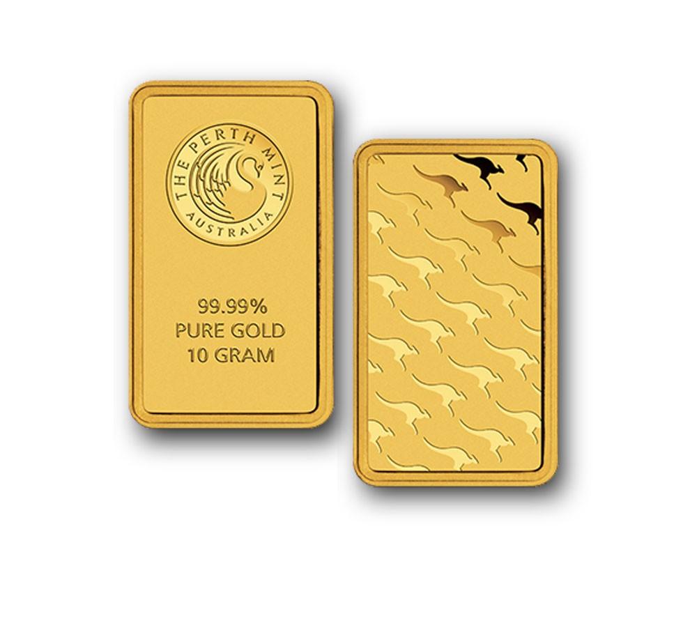 Perth Mint 10 Gram Gold Bar - .9999 fine Gold Bar