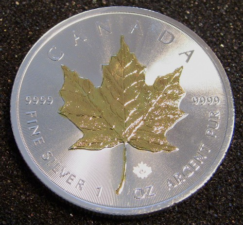 1-oz Select Gold-Plated Canadian Silver Maple Leaf Coins - .9999 fine Silver
