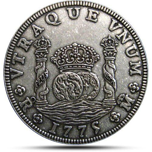 Pillar Dollar Antiqued Silver Coin Replica obverse