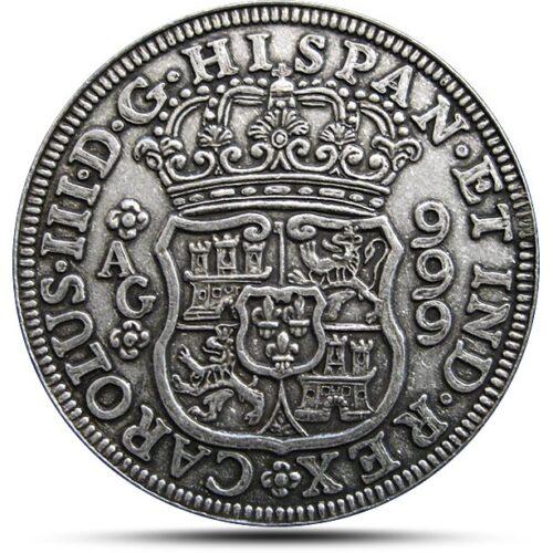Pillar Dollar Antiqued Silver Coin Replica reverse