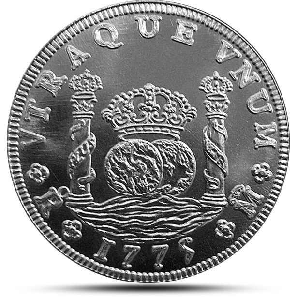 Spanish Pillar Dollar Silver Bullion round - Uncirculated Obverse