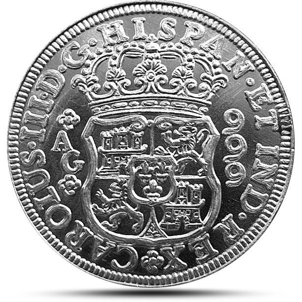 Spanish Pillar Dollar Silver Bullion round - Uncirculated Reverse