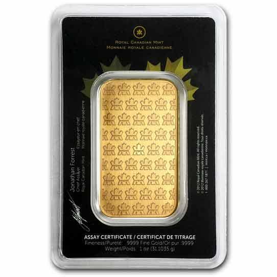 Royal Cnadian Mint 1 oz Gold Bar Reverse