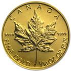 (Random year) 1/10 Oz gold Maple Leaf Canada  Front