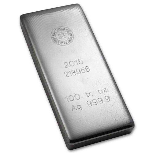 RCM 100 oz silver bar obverse