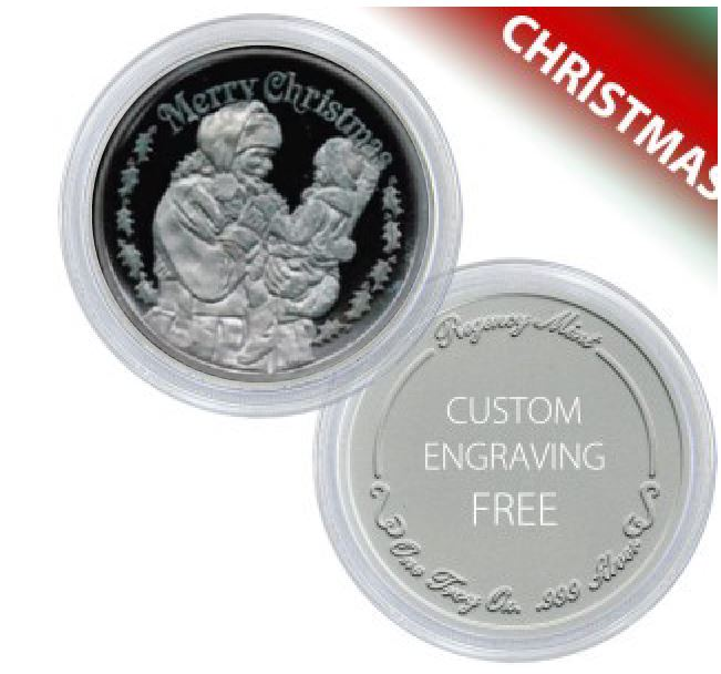 Christmas Santa Coin Gift Of 1 Troy Oz 999 Fine Silver