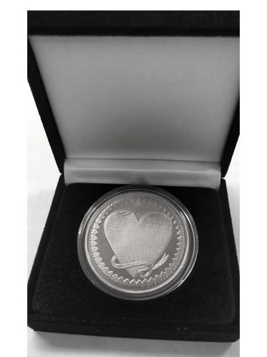 Personalized Silver Heart Coin -  999 Silver